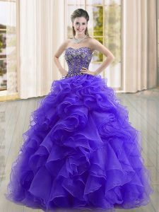 Purple Lace Up Sweetheart Beading and Ruffles Vestidos de Quinceanera Organza Sleeveless