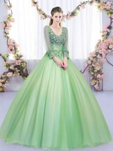 Green Lace Up Sweet 16 Dress Lace and Appliques Long Sleeves Floor Length