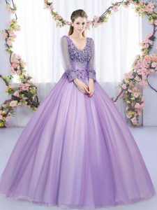 Free and Easy Lavender V-neck Zipper Lace and Appliques Ball Gown Prom Dress Long Sleeves