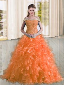 New Arrival Orange Sleeveless Organza Sweep Train Lace Up Sweet 16 Quinceanera Dress for Military Ball and Sweet 16 and Quinceanera