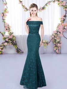 Beautiful Peacock Green Lace Up Off The Shoulder Sleeveless Floor Length Vestidos de Damas Lace