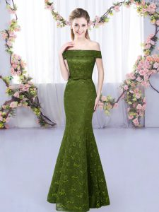 Sleeveless Floor Length Lace Up Quinceanera Court Dresses in Olive Green with Lace