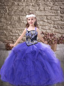 Purple Sleeveless Tulle Lace Up Little Girls Pageant Dress for Party and Wedding Party