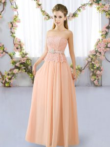 Peach Chiffon Lace Up Strapless Sleeveless Floor Length Quinceanera Court Dresses Lace and Belt