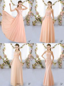 Luxurious Lace Quinceanera Court Dresses Peach Lace Up Sleeveless Floor Length