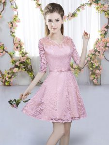 Comfortable Lace V-neck Half Sleeves Zipper Belt Dama Dress for Quinceanera in Pink