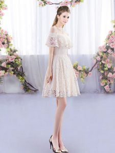 Fashion Champagne Empire Off The Shoulder Short Sleeves Lace Mini Length Lace Up Quinceanera Court of Honor Dress