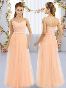 Customized Peach Zipper High-neck Beading Court Dresses for Sweet 16 Tulle Cap Sleeves