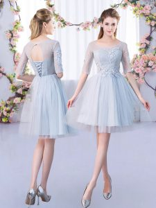 Custom Design Tulle Scoop Half Sleeves Lace Up Lace Quinceanera Court of Honor Dress in Grey