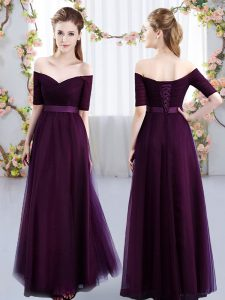 Discount Empire Dama Dress for Quinceanera Dark Purple Off The Shoulder Tulle Short Sleeves Floor Length Lace Up