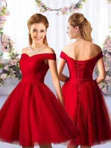 Red Tulle Lace Up Off The Shoulder Sleeveless Knee Length Quinceanera Court Dresses Ruching