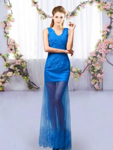 Flare Floor Length Lace Up Damas Dress Royal Blue for Prom and Party and Wedding Party with Lace