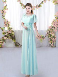 Short Sleeves Floor Length Appliques Zipper Quinceanera Dama Dress with Aqua Blue