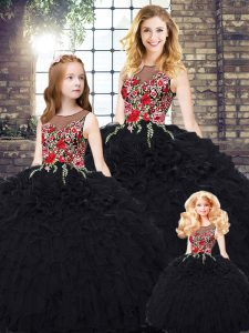 Noble Floor Length Ball Gowns Sleeveless Black Quinceanera Gown Zipper