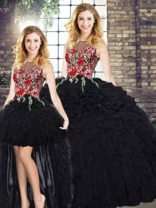 Black Scoop Zipper Embroidery and Ruffles Sweet 16 Dresses Sleeveless