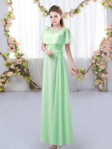 Attractive Green Short Sleeves Chiffon Zipper Dama Dress for Prom and Party and Wedding Party