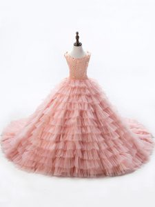 Customized Pink Lace Up Pageant Dress for Teens Beading and Ruffled Layers Sleeveless Court Train
