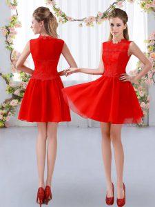 Custom Fit Mini Length Empire Sleeveless Red Damas Dress Zipper
