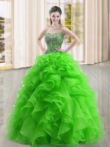 Captivating Sleeveless Organza Floor Length Lace Up Quinceanera Gown in Green with Beading and Ruffles