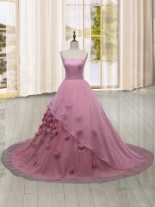 Sleeveless Hand Made Flower Lace Up Quinceanera Dresses with Pink Brush Train