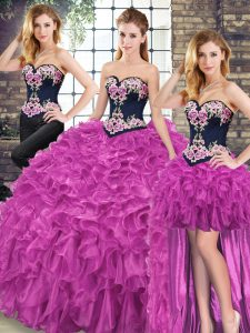 Dynamic Fuchsia Sleeveless Organza Sweep Train Lace Up 15th Birthday Dress for Military Ball and Sweet 16 and Quinceanera