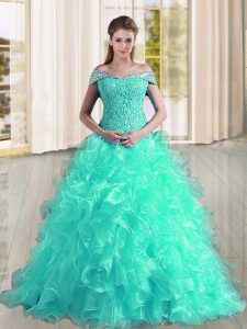 Sleeveless Sweep Train Lace Up Beading and Lace and Ruffles Sweet 16 Dresses
