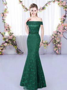 Delicate Dark Green Mermaid Off The Shoulder Sleeveless Floor Length Lace Up Lace Vestidos de Damas