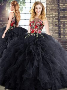 Black Sleeveless Floor Length Embroidery and Ruffles Zipper Sweet 16 Quinceanera Dress