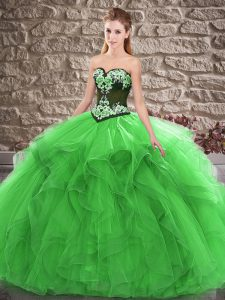 Green Vestidos de Quinceanera Sweet 16 and Quinceanera with Beading and Embroidery Sweetheart Sleeveless Lace Up