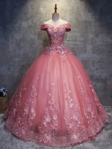 Watermelon Red Vestidos de Quinceanera Military Ball and Sweet 16 and Quinceanera with Appliques Off The Shoulder Sleeveless Lace Up