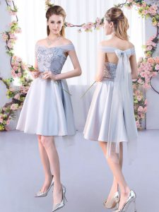 Fantastic Off The Shoulder Sleeveless Lace Up Dama Dress for Quinceanera Silver Satin