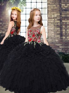 Most Popular Sleeveless Embroidery and Ruffles Zipper Pageant Dress for Girls