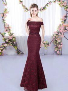 Elegant Burgundy Lace Up Off The Shoulder Sleeveless Floor Length Damas Dress Lace