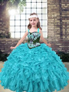 Aqua Blue and Turquoise Organza Lace Up Child Pageant Dress Sleeveless Floor Length Embroidery and Ruffles