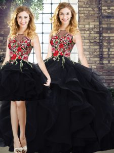 Exceptional Bateau Sleeveless Tulle 15th Birthday Dress Beading and Embroidery Lace Up