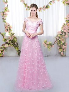 Attractive Rose Pink Cap Sleeves Floor Length Appliques Lace Up Quinceanera Dama Dress