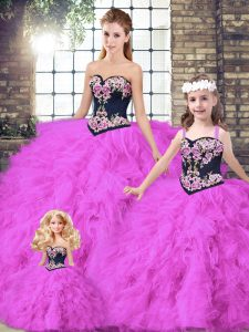 Chic Floor Length Fuchsia Sweet 16 Quinceanera Dress Tulle Sleeveless Beading and Embroidery