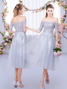 Trendy Tea Length Empire Half Sleeves Grey Quinceanera Court Dresses Zipper