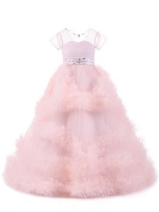 Top Selling Floor Length Baby Pink Pageant Dresses V-neck Short Sleeves Backless