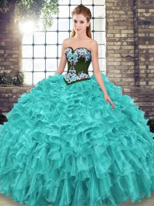 Edgy Sweetheart Sleeveless Organza Quinceanera Gowns Embroidery and Ruffles Sweep Train Lace Up