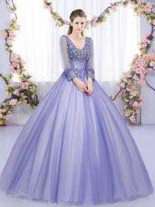 Modern Long Sleeves Tulle Floor Length Lace Up Sweet 16 Quinceanera Dress in Lavender with Lace and Appliques