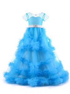 V-neck Short Sleeves Tulle Pageant Gowns For Girls Beading and Ruffles Backless