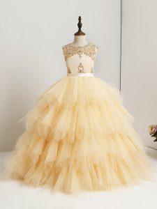 Gorgeous Gold Ball Gowns Tulle Scoop Sleeveless Beading and Ruffles Floor Length Zipper Little Girls Pageant Dress