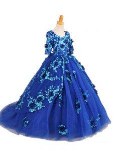 Brush Train Ball Gowns Girls Pageant Dresses Blue V-neck Tulle Half Sleeves Zipper