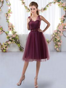Inexpensive Sleeveless Knee Length Appliques Zipper Quinceanera Court of Honor Dress with Burgundy