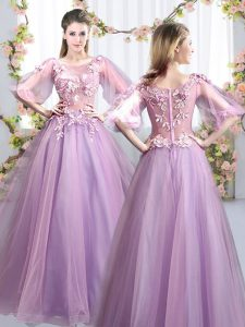 Lavender A-line Scoop Half Sleeves Tulle Floor Length Zipper Appliques Quinceanera Court of Honor Dress