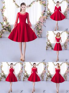 Luxury Scoop 3 4 Length Sleeve Damas Dress Knee Length Ruching Red Satin