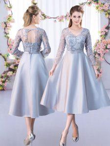 Ideal Silver Lace Up Vestidos de Damas Lace 3 4 Length Sleeve Tea Length