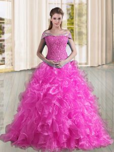 Stylish Sleeveless Sweep Train Lace Up Beading and Lace and Ruffles Vestidos de Quinceanera