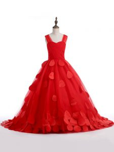 Red Tulle Lace Up Straps Sleeveless Pageant Dresses Brush Train Appliques